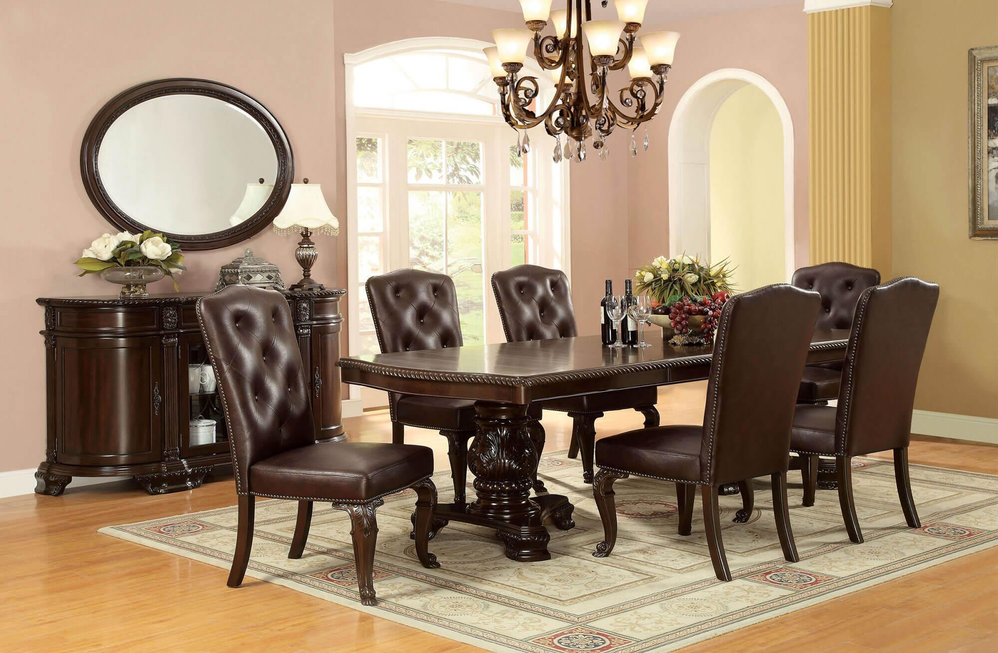 Set Kursi Makan Jati Mewah Elegan Dark Brown Sobat Furniture