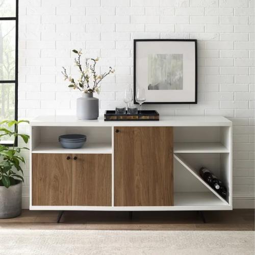 Sideboard Elegan Warna Putih Coklat Terbaru