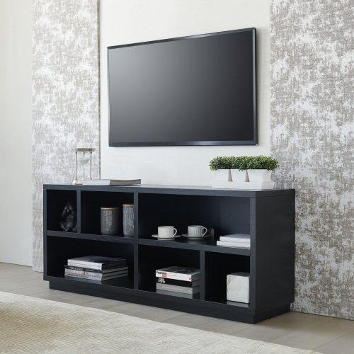 Meja TV LED Kayu Jati Minimalis Warna Hitam